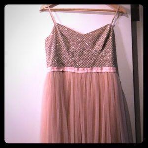 Pink blush tulle dress, midi